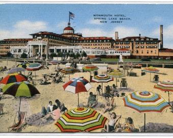 Spring Lake Beach Monmouth Hotel New Jersey 1945 linen postcard