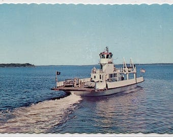 Car Ferry Boat Lincolnville Beach Penobscot Bay Maine postcard