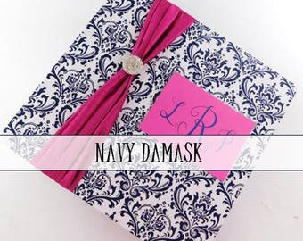 Damask Wedding Album NAVY Personalized wedding photo album custom monogrammed bridal shower gift anniversary present 4x6 5x7 8x10 picture