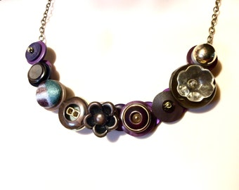 Plum Persuasion button necklace