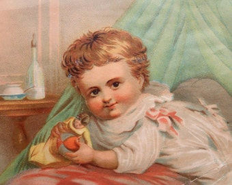 Vtg Lithograph of Baby w/ Toys & Bottle