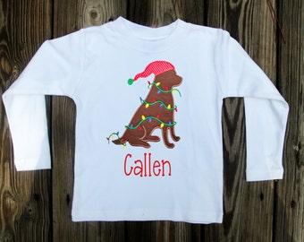 Christmas Dog Shirt - Boys Christmas Shirt - Christmas Applique Shirt - Boys personalized Shirt
