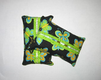 Fabric Tissue Cover, Blue Green Butterflies, Purse Tissue Pack, Travel Tissue Pack Cover, Handmade, Gift under 5