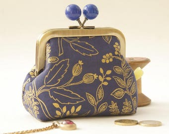 Bronze metal frame coin purse/ jewelry purse/blue bobbles/golden flowers and seedheads printed on blue/Queen Anne in Navy Metallic