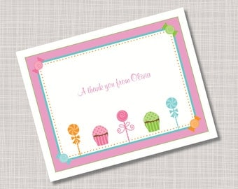Custom Cupcakes Candy & Lollipops Thank You Note Cards