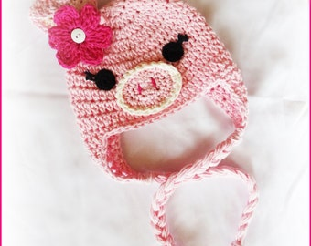 READY TO SHIP This Little Piggy Pig Crochet Hat by AngelsChest - Size  3-6 months - Photography Prop - Babyshower - Baby Gift