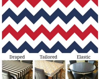 Laminated cotton aka oilcloth tablecloth custom size and fit choose elastic, tailored, or draped, red white and blue chevron