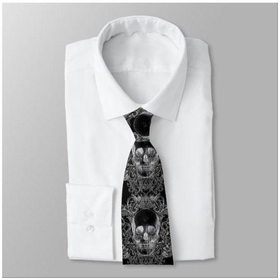 Corporate Goth Baroque Skull Neck Tie