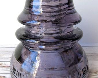 VINTAGE - Whitall Tatum Co. No. 1 - Glass Telephone Insulator - Amethyst Purple