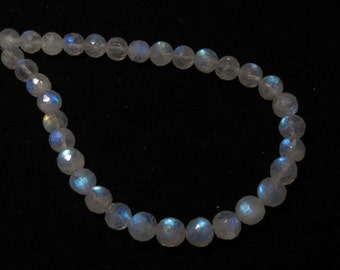 Rainbow Moonstone - AAA - High Quality - So Gorgeous Micro Cut Round Ball Beads Nice Blue Flashy Fire size 6 - 6.5 mm 8 inches  - 33 pcs