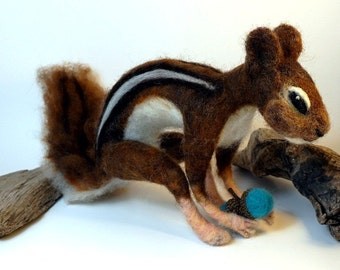 "Needle Felt Felted Chipmunk Approx. 12-1/2"" Pose-able Doll Collectible Fiber Art Sculpture"