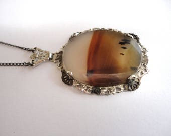 1920s Art Deco Sterling Silver and Moss Agate Necklace