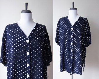 Vintage 1990s Polka Dot Blouse / Navy Blue Spot Rayon Tunic Top / Size Extra Large / Plus Size