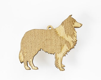 Shetland Sheepdog / Sheltie Ornament from Timber Green Woods. - Personalize it with Name Engraving! Made in the U.S.A! - Maple Wood