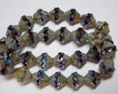 15 11x10mm Czech Glass Faceted Baroque Bicone Beads - Blue, Purple, Yellow FAB blend Picasso