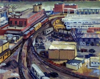 Train Yard, Inwood NYC. Cityscape Oil Painting on Canvas, 12x12 Winter Urban Industrial Realist New York City Fine Art, Signed Original