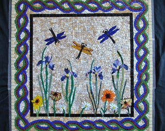 "Mosaic Backsplash Inset Dragonfly-Iris - Custom Designed - 24"" by 24"" - stained glass - glass tile - mosaic kitchen"