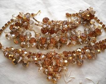 Juliana Amber Topaz Rhinestone Crystal Dangle Necklace Bracelet Brooch Earrings Free Shipping