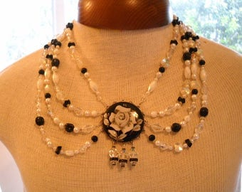 Repurposed Vintage Swag Necklace Black & White Reverse Carved Flower FREE SHIPPING