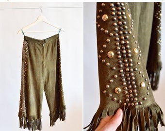 30% OFF until Monday / Vintage 1970s STUDDED and fringed leather culottes