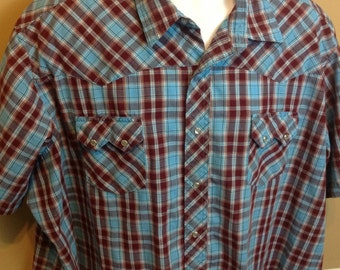 Vintage 80s Wrangler Blue Plaid Pearl Snap Short Sleeve Western Shirt Mens 2X