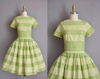 50s vintage dress. 50s green cotton stripe full skirt vintage dress