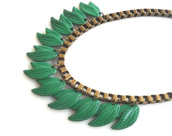 Green Statement Necklace, Leaf Necklace, Retro Jewelry Metal Bib Necklace, Massive Chain Unique Necklace for her