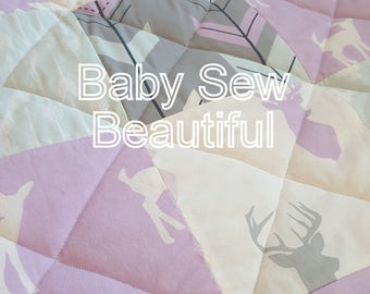 Custom Girl Rustic Buck Quilt, Woodland Quilt, Modern Girls Bedding, Deer Bedding, Baby, Toddler, Blanket, Lilac, Gray, Aqua,