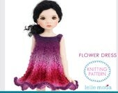 Knitting Pattern,  13 inch Dolls,  MSD,  BJD ,  Doll Dress Pattern, Toy Doll Clothes, Avery by Meadowdolls,  Flower Dress, Lace Knitting