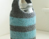 Ready to Ship Hand Felted Hand Knit Wool 32 Oz Quart Mason Jar Cozy in Gray Blue Stripe