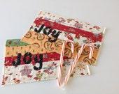 "QUILTED JOY MUGRUGS, 6"" x 9.75"", Set of 2, Stripes, Traditional Christmas Fabrics, Appliqued ""Joy"", Handmade, Large Coasters,  Mug Mats"