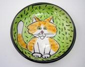 Ceramic Cat Feeding Dish - Orange White Tabby Cat - Pet Food Bowl - Clay Feeding Bowl - Pottery Shallow Dish - Majolica Bowl - Lime Green
