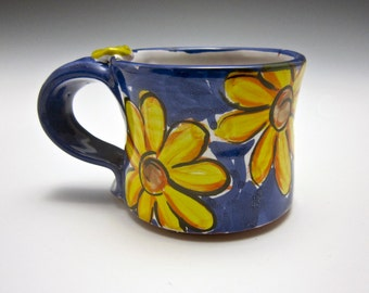 Petite Ceramic Coffee Mug - Girlfriend Gift - Small Pottery Coffee Mug - Clay Mug - Tea Cup - Yellow Daisy Flower - Majolica - 8 ounces