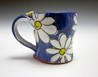 Medium Ceramic Coffee Mug - Pottery Coffee Mug - Gift for Her - Tea Cup - White Daisy Flower - Majolica Mug-  Cobalt Blue - 12 ounces oz mug