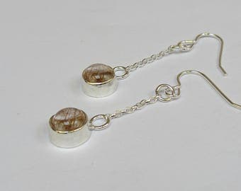 Sterling silver handmade golden rutilated quartz drop earrings, hallmarked in Edinburgh