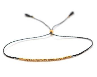 EASTER SALE Delicate gold bracelet. Silk bracelet. Friendship bracelet
