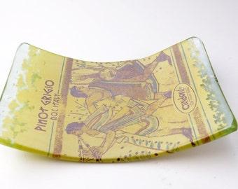 Wine Bottle Dish Condoni Pinot Grigioi D.O.C.  Roman Fresco