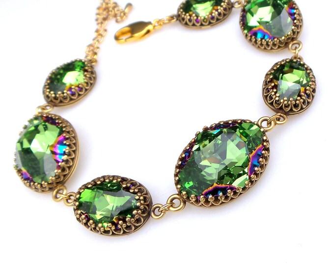 bridesmaid jewelry bracelet bridal wedding prom party gift antique brass setting swarovski rhinestone peridot scarabaeus green Z fancy oval