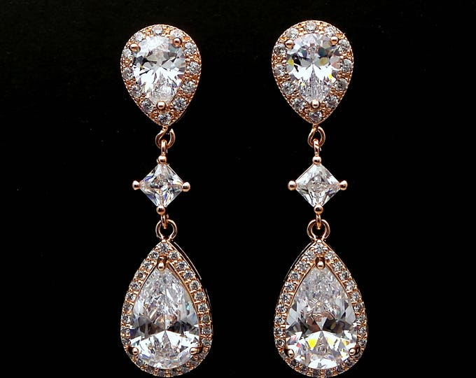 bridal earrings wedding jewelry christmas party prom bridesmaid gift rose pink gold post cubic zirconia teardrop earrings diamond connector