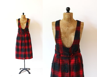 vintage jumper 1990's dress pinafore christmas plaid red green preppy wool 1990's women's clothing size m medium