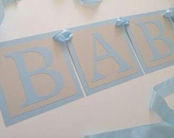 Baby Shower Banner Baby Boy Blue ABC Alphabet Baby Block Theme Baby Shower Decor