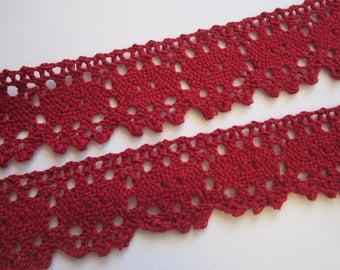 3 yds cotton lace trim - MAROON lace, burgundy lace trim - 1.25 inch wide - all cotton trim - cotton lace trim