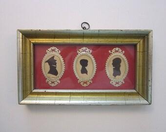 antique framed SILHOUETTE family art - gold dresden frame, Victorian scrap frames - silhouette portraits