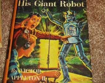"""Vintage Youth Sci-Fi book-'50s """" Tom Swift and His Giant Robot"""" good condition"""