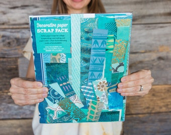 Blue paper scrap pack for collage, scrapbooking, and paper crafts