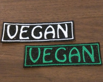 White or green Vegan embroidered on sparkly eco felt iron on patch