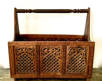 Carved Wood Magazine Rack / India Wood Carving