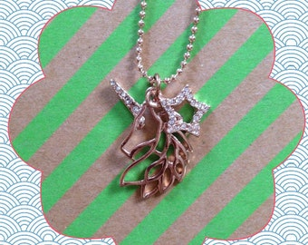 Whimsical Unicorn Charm Necklace (Rose Gold)