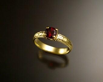 Garnet 14k Green Gold Victorian floral pattern wedding ring engagement ring
