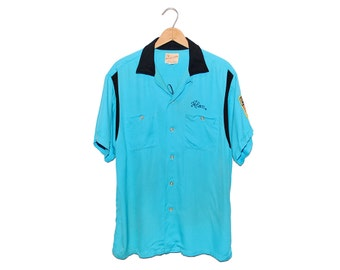 Vintage 1961 Bowlmaster by George London / Nelsen Auto Parts Bright Teal Blue Bowling Shirt Made in USA - Large